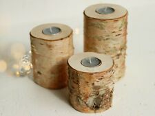 3 Rustic Wooden Branch Tree Tea Light Candle Holders Wedding Party Log Christmas