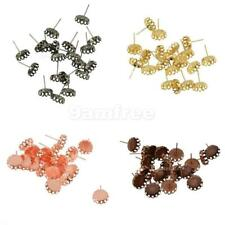 20PCS Vintage Silver Bronze 10mm Round Cabochon Setting Earring Pin Studs