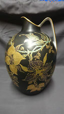 "Large Unusual Rosenthal Group CLASSIC ROSE 11.75"" Jug/Ewer - Black & Gold"