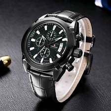 Mens Wrist Black Brown Leather Band Stainless Quartz Watch Date Analog Luxury