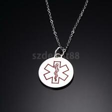 "Medical Alert ID Necklace Chain 20"" Medical Cross Engraved Pendant Keepsake Gift"