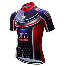 USA MTB jersey Men's Cycling Jersey Short Sleeve Bike Bicycle Cycle Shirts Top