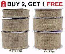 Cut / Wired Edge Natural Jute Hessian Burlap Ribbon Lace Rustic 32mm 50mm 70mm