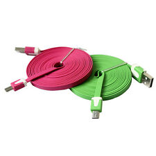 1/2/3M Noodle Flat Micro USB Sync Data Charger Cable Cord For Smart Phone FO