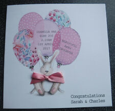 HANDMADE PERSONALISED CONGRATULATIONS NEW BABY CARD, FLORAL BALLOONS AND BUNNY
