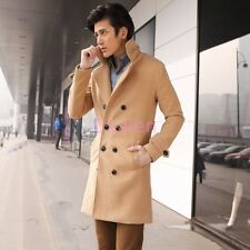 Fashion Mens Korean Double Breated Wool Blend Mid Long Coat Jacket Slim Fit New