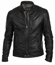 HUNT BLACK BIKER 100% REAL SHEEP SKIN LEATHER JACKET- All Sizes Available