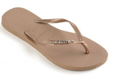 Havaianas Slim Metal Logo and Crystal Flip Flops - Rose Gold