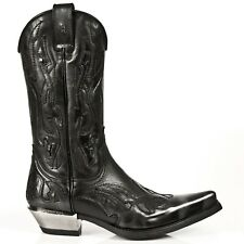 Newrock Mens 7921-S3 New Rock Leather West Black Silver Flame Cowboy Biker Boots