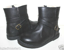 baby Gap NWOB Girl Black Faux Leather Motorcycle Boots Moto Boots