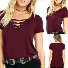 Women's Sexy Lace Up Long Sleeve Shoulder T-shirt Bandage V neck Blouse Top Cami