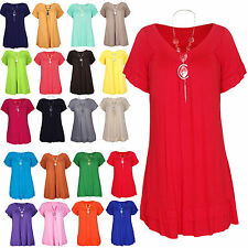 Women's Ladies Loose Baggy V Neck Frill Gypsy Tunic Short Sleeve Necklace Top