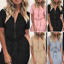 Summer Women's Casual Zipper Lace-up Short Sleeves Cocktail Party Loose Dress