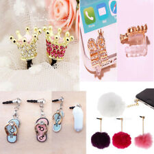 Crystal Cute Crown 3.5mm Anti Dust Earphone Jack Plug Stopper Cap for Cell phone