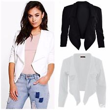 WOMENS LADIES PLAIN CASUAL WATERFALL STYLE JACKET CROPPED BLAZER PLUS SIZE 8-26