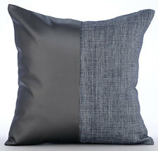 35x35 cm Faux Leather Grey Cushion Covers - Charcoal Grey Leather N Jute