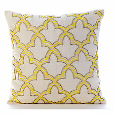 Yellow Sunset Taj - 35x35 cm Cotton Linen Yellow Throw Cushions Cover For Couch