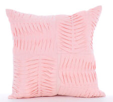 Textured Pintucks 30x30 cm Cotton Linen Pink Throw Cushion Cover - Pinch Of Love