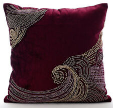 Zardozi Purple Cushion Cases, Velvet 35x35 cm Throw Cushion Cover- Zardozi Waves