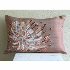 Pink Sequins & Beaded Flower 30x45 cm Silk Lumbar Cushion Cover- Fading To Light