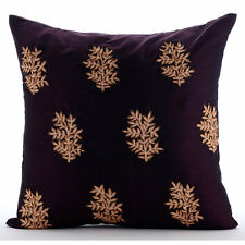 Zardozi Ethnic Flower Purple Shams, Art Silk 60x60 cm Cushion Sham - Boudoir