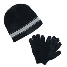 New CTM Boys' & Teens' Ribbed Knit Hat and Glove Winter Set