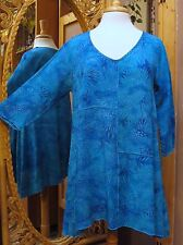 New Moon's Own Batik Patchwork 3/4 Sleeve Tunic Blouse in Crinkle Rayon XS-XL