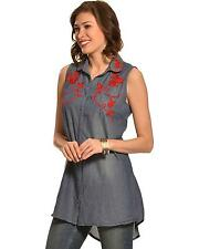 Pink Cattlelac Women's Chambray Embroidered Sleeveless Tunic - PC708CHM
