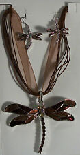 Enamel Dragonfly Silver Plated Necklace Earrings Brown Black Red Purple