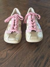 "Diesel ""Clarita"" Cream And Tan With Pink Suede Trimming Women  Shoes Size 6.5"