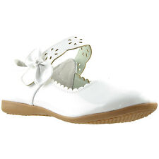 Girls Scalloped Mary Jane Casual Comfort Patent Ballet Flats White