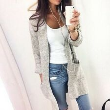 Women Long Sleeve Knitted Cardigan Loose Sweater Outwear Jackets Coat Casual Top