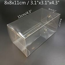 """3.1""""x3,1""""x4.3"""" Bomboniere Favour Boxes Fold Up Wedding Clear Plastic Packaging"""