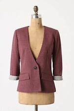 Anthropologie Sans Collar Blazer Sz L, Purple Abridged Lapels Jacket Cartonnier