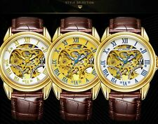 Mens Brown Leather  Wrist Roman Golden Skeleton Automatic Watch Mechanical Sport