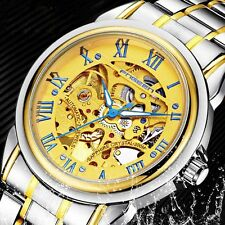 Golden Roman Dial Automatic Wrist Sport Watch Silver Skeleton Mechanical Mens