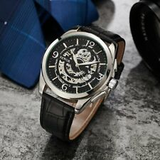 Luxury Leather Skeleton New Mechanical Automatic Watch Tourbillo Steampunk Mens