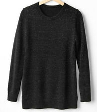 GAP MATERNITY SILVER SHIMMER CREW NECK SWEATER   (black)