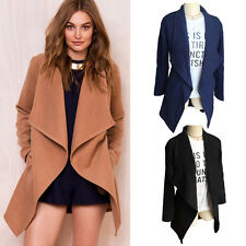 Women's Slim Long Jacket Trench Windbreaker Parka Coat Belt Outwear Cardigan