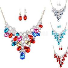 Prom Wedding Bridal Women's Rhinestone Crystal Necklace Earrings Jewelry Set