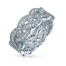 Bling Jewelry 925 Sterling Silver Pave CZ Infinity Eternity Band Love Knot Ring