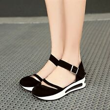 HOT Casual Womens Wedge Heels Round Toe Girl Sandals Shoes Ankle Strap Mary Jane