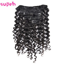 7pcs 70g Brazilian Deep Wave Curly Clip in Real Human Hair Extensions Clip ins