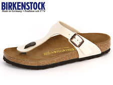 BIRKENSTOCK ARIZONA GIZEH PATENT WHITE /BLACK Arizona Soft Footbed NEW 35-46 L M