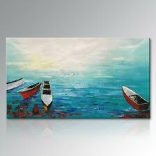 Handmade Abstract Wall Art Sailboat Blue Seascape Oil Painting on Canvas Framed