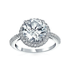 Bling Jewelry Gold Plated 925 Silver Vintage Style Round CZ Halo Engagement Ring