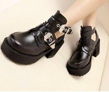 Womens Punk Gothic Chunky Platform Buckle Strap Ankle Boots Spring PUmps Shoes