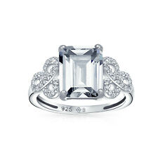 Bling Jewelry 925 Silver Emerald Cut CZ Celtic Knot 3ct Engagement Ring