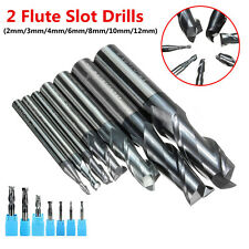 2 Flutes Solid Carbide Mill Cutter Slot Drill Tungsten Coated 2/3/4/6/8/10/12mm