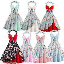 1950s Rockabilly Womens Vintage Floral Halter Evening Party Prom Swing SunDress